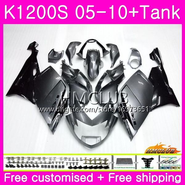 Body+Tank For BMW K1200 S K 1200 S K1200S 05 06 07 08 09 10 Kit 30HM.1 K-1200S K 1200S 2005 2006 2007 2008 2009 2010 Dark Silvery Fairing