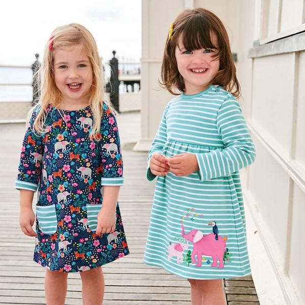 Einhorn Party Mädchen Frühlings Kleid Tier Applizierte 100% Baumwolle Kinder Langarm Kleid für Baby Kleidung