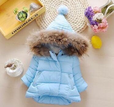 80-130cm Sevimli Kız Bebek Parkas Coat Katı Pamuk Palto İçin Kız Çocuk Çocuk Kış Ceket Kalın Kapşonlu Kabanlar Isınma