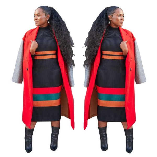 Cross Striped Patchwork Fashion Pencil Dress Autumn O Neck Long Sleeve Midi Dress Women High Street All Matched Robes