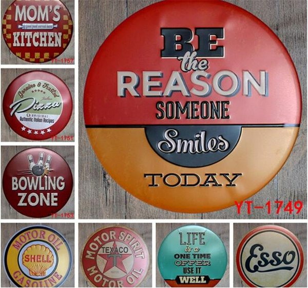10 pz Motor Spirit Oil Round Retro in rilievo Tin Sign Poster Wall Bar Ristorante Garage Pub Coffee Home Decor Regalo di Natale G437