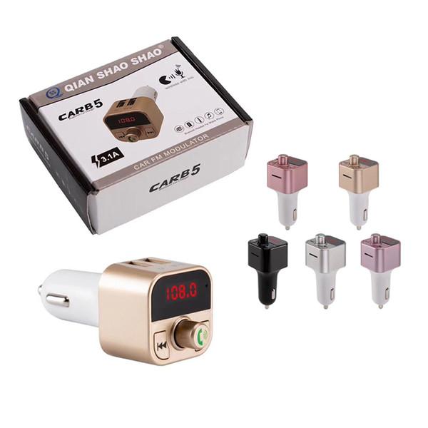 CAR B5 Wireless Bluetooth Multifunction FM Transmitter USB Car Chargers Adapter MP3 Player Kit Holders TF Card HandsFree Headsets Modulator