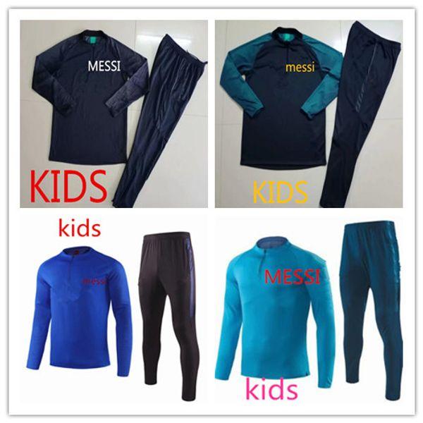 MESSI 2019-2020 Barcelone enfants manteau pull de football costumes INIESTA PIQUE Uniformes Football Camiseta de Futbol O.DEMBELE SUAREZ messi Survêtements enfants