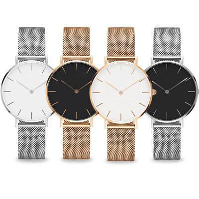 최고 로즈 골드 쿼츠 시계의 40mm 및 36mm 32mm 슬림 시계 여성 시계 남성 캐주얼 일본어 쿼츠 시계 스테인레스 스틸 메쉬