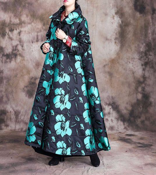 BHDD New Original Women's Cotton Padded Jacquard Lapel Fit Coat Retro Long Knee Length Women Winter Coats and Jackets