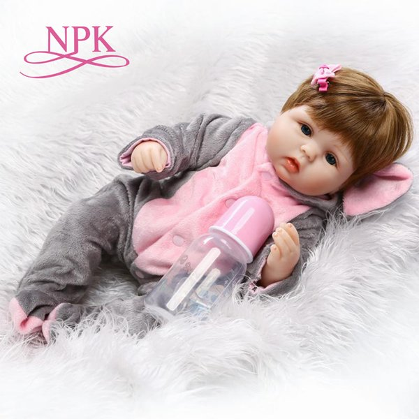 Npk Wholesale Cute Reborn Soft Real Touch Silicone Vinyl Doll Lovely Baby Best Toys And Gift For Children Q190530