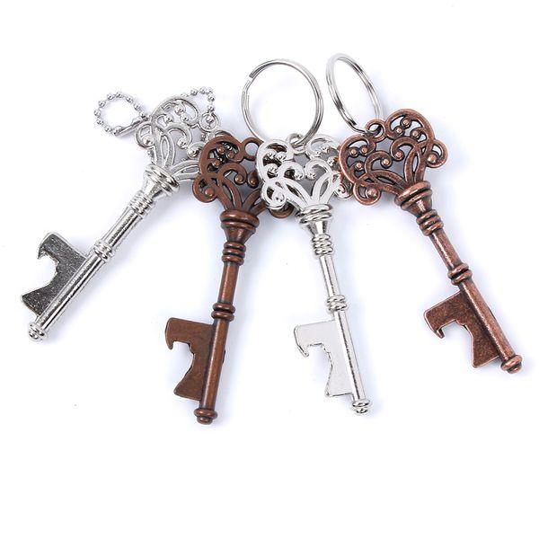 key Shaped Bottle Opener Keychain shaped zinc alloy Silver Color Key Ring Beer Bottle Opener Unique Creative Gift