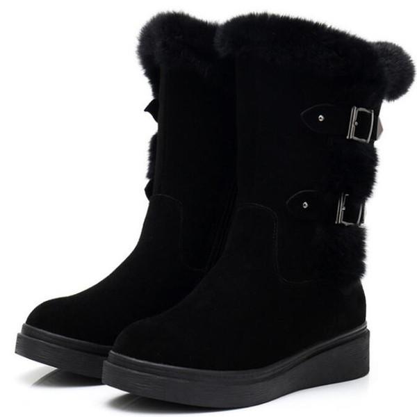 HOT 2019 New winter Matte Cowhide + Rabbit Hair Splice Women Boots Warm Winter Shoes Women Shoes Snow Boots Flat Non-Slip Knight Boots