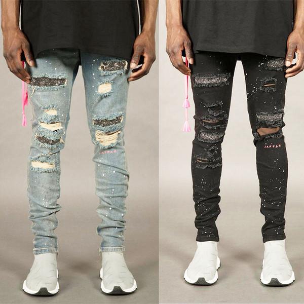 Jeans skinny in denim elasticizzato da uomo Pantaloni leggings con foro strappato di moda per jeans da uomo distrutti a matita da uomo