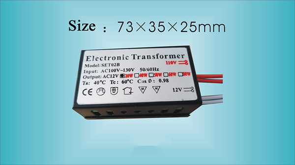 20W 40W 60W 80W 105W 160W Electronic Transformer 12V AC110V Lighting Transformer for Crystal Lighted Halogen Lamp Quartz Lamp
