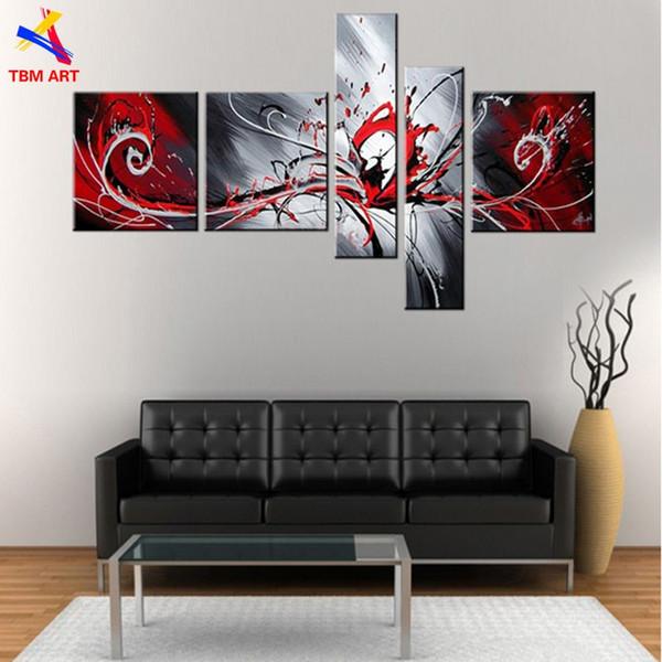 Acheter Rouge Argent Couleur Mur Photo Peinture Art Cadeau Peint à La Main Moderne Abstraite Peinture à L Huile Sur Toile Mur Art Non Encadré Jyjlv167