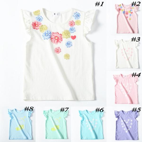 Verano del bebé niñas algodón camiseta niños flor corazón impreso tops manga de la colmena niños dibujos animados tees ropa linda
