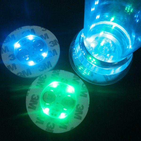 Colorido Rodada Coasters Bateria Substituível LED Light Up Garrafa Adesivos de Moda Festa Cup Bottom Adesivo Popular 2 8hl BB