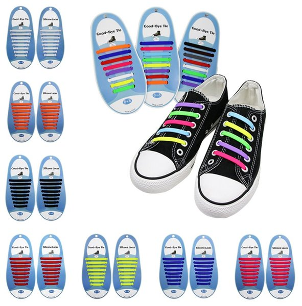 Diseño creativo Unisex Fashion Athletic Running No Tie Shoela Cordones de silicona elásticos Todas las zapatillas para adulto (16pcs / set) 6011