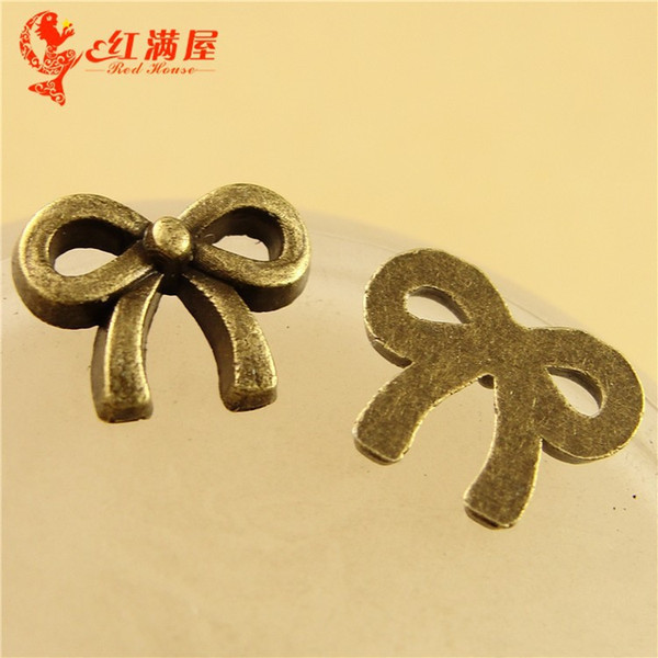 8*10MM Antique Bronze Retro hair accessories wholesale bow charm beads, small pendant ornament fittings, metal bowknot charms