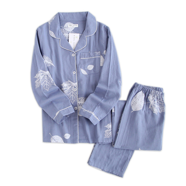 Corea Pijama fresco establece mujeres 100% gasa algodón manga larga casual ropa de dormir mujer pijamas verano venta caliente 2019