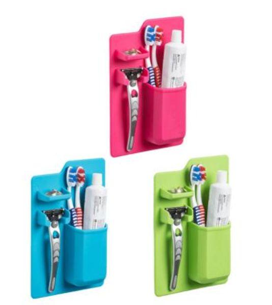 top popular Soft Silicone Bathroom Organizer Toothbrush Holder Bathroom Suck on Mirror Toothpaste Shaver Organizer Storage Box 2021