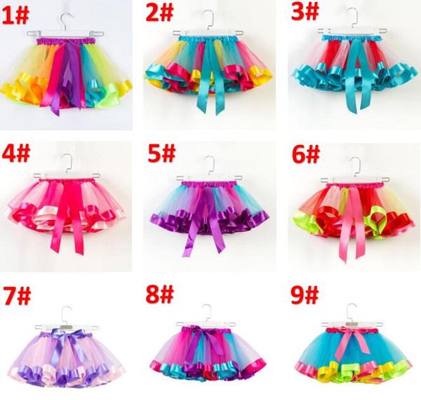 best selling 2-11 years kids  clothes girls tutus rainbow color baby girl tutu skirts kids lovely bubble skirt babies cake layer dress BY0986