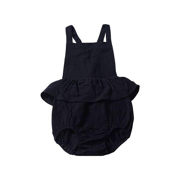 New Black Baby Girls Sleeveless Rompers Dresses Must-have Newborn Girls Bodysuits One-piece Sleeveless Pink Belt Blackless Girls Jumpsuit