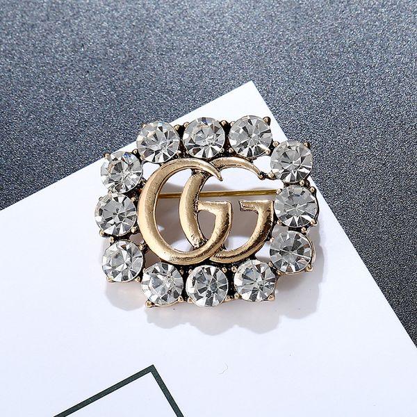 Mode Strass Broschen für Geschenk Marke Brief Legierung Pins für Frauen Hochzeit Mädchen Persönlichkeit Brosche