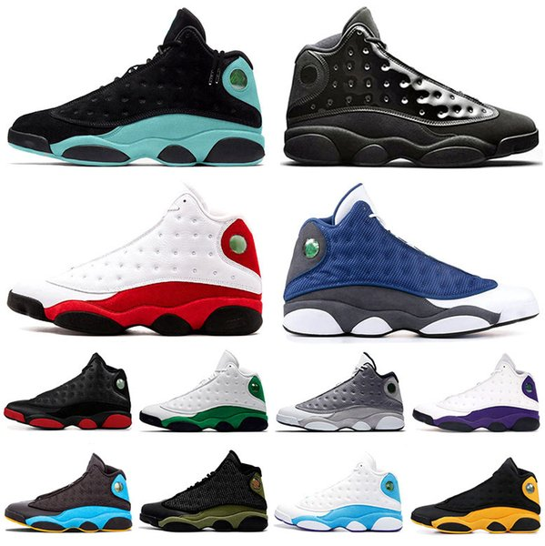New Arrival 13 Island Green 13s Flint Mens Basketball Shoes Size 13 Jumpman Olive Green Cap And Gown Bred Chicago DMP Men Trainers