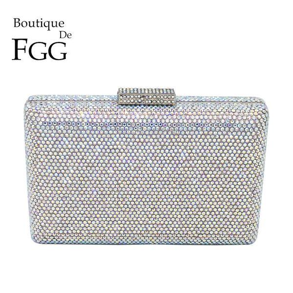 Boutique De Fgg Dazzling Silver Crystal Ab Women Evening Clutch Handbag And Purse Bridal Wedding Party Chain Shoulder Bag Y190626