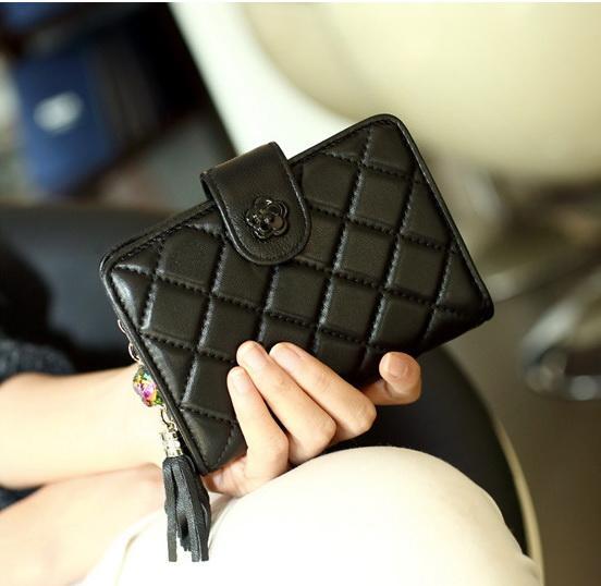 New women Genuine leather tassel designer wallets lady sheep leather zero purses female fashion phone clutchs pink/black/fuchsia with box