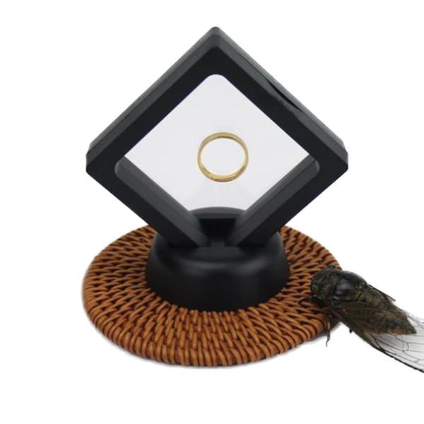 Membrana de PET Anel de Jóias Pingente Display Stand Titular Bague Caixa De Embalagem Proteger Pedras de Jóias Flutuante Apresentação Caso rápido