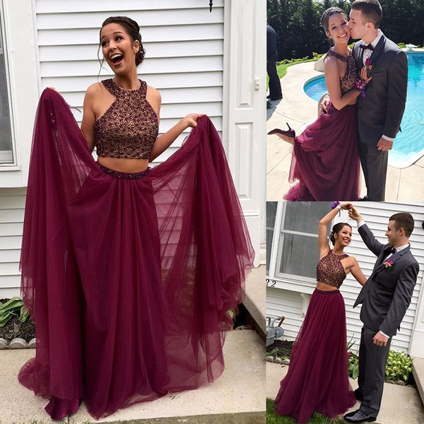 Prom Dresses 2019 Hot-selling wine-red skirt with multi-layer network two sets of body weight hand-made nail beads shining and parcel post