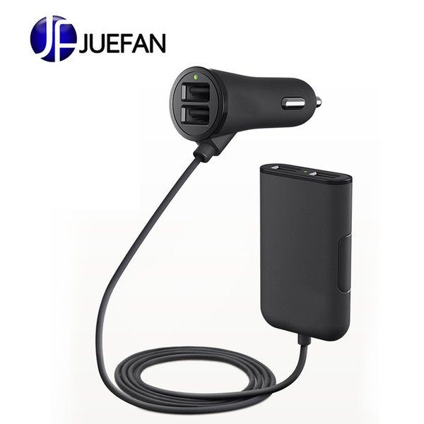 4 in 1 4 USB port hub seat back car charger 5V 7.2A fast charger with 1.8 meters