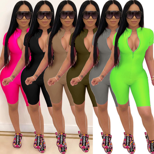 top popular Women Jumpsuit Solid Color Sports Slim Sexy Zipper Short Sleeve Pants Ladies Rompers New Fashion Sportwear Club Party 2020 2020