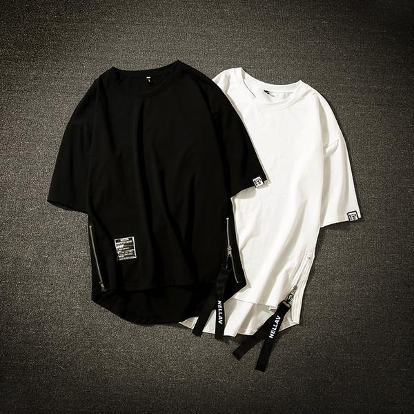 Streetwear Cotton Men T-shirt Half Length Tee Shirt Homme Hip Hop Ribbons Side-zipper Short Sleeve Men T Shirt