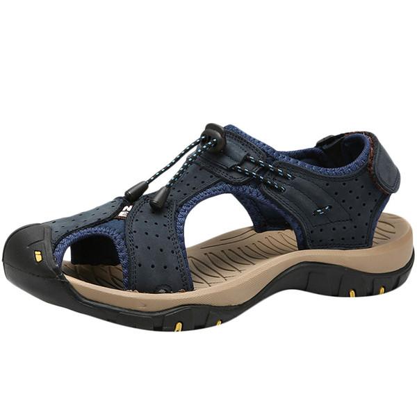 Herren Sandalen 2019 Sommer Mann bedeckt Toe Mode Leder Wanderschuhe Wohnungen Strand Wassersport Sandalen HookLoop Round Toe Schuhe