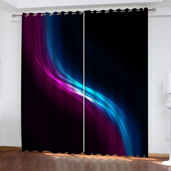 best selling custom curtains Black blue purple color stripes 3D Blackout Curtains For Living room Bedding room Drapes Cotinas para sala