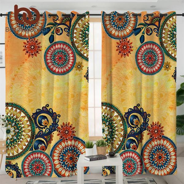 BeddingOutlet Kaléidoscope Living Rideaux Chambre Bohemian Rideau pour chambre à coucher traitement Fenêtre ethnique Fleurs Mandala Tentures