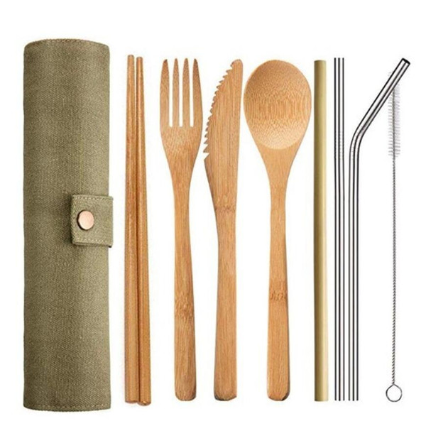 Dinnerware Set 9Pcs Set Bamboo spoon Fork Knife chopstick straw brush Cutlery with Cloth Bag Kitchen Cooking Tools Utensil