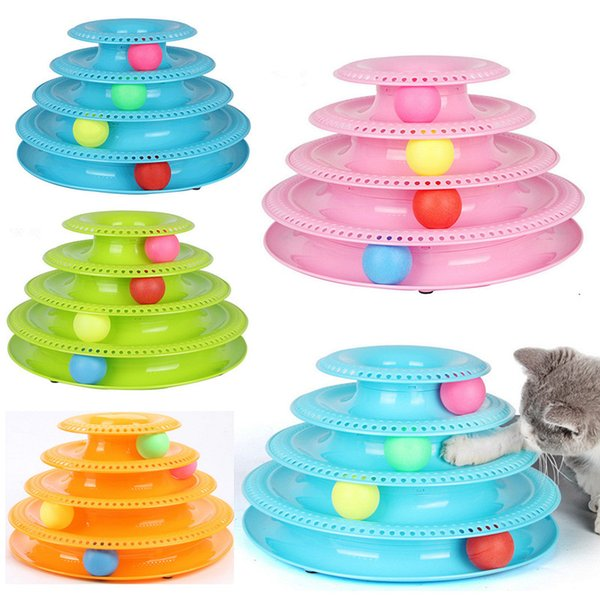 Cat Track Ball Toys Play Turntable Training Toys 4 Layer Colorful Balls Pet Play Tower Kitty Puppy Game Ball Turntable Disc