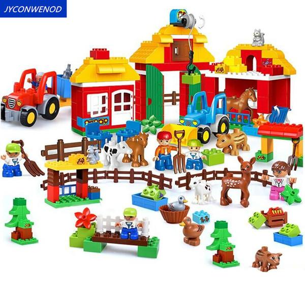 Счастливая ферма животных Большие строительные блоки Наборы друзей Цифры Развивающие игрушки для детей кирпича Совместимость с