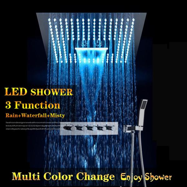 Incorpora le docce a pioggia a pioggia Set Hand Spray a Led a energia elettrica Bagno 4 Way Conceal Installare rubinetti doccia fredda calda