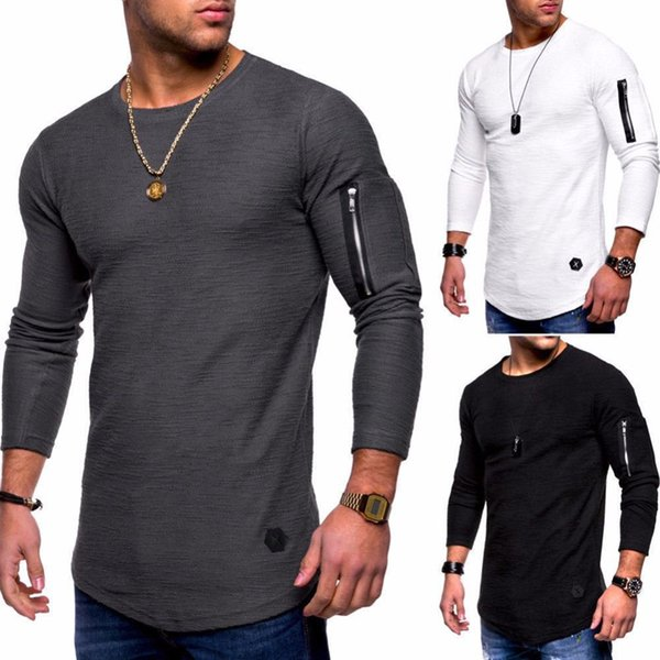 2018 Fashion Men's Solid Color Crewneck Long Sleeve T-Shirt Arm Zip Splicing Individuality European and American Long Sleeve Backing Shirt