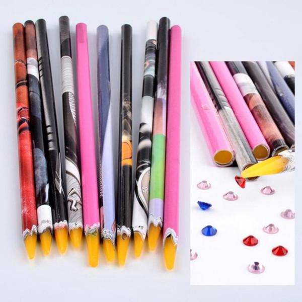 1pc 10cm Wax Dotting Pen Pencil Nail Art Tools Self-adhesive Rhinestones Gems Drilling Picking Picker Tips Tools Random Color