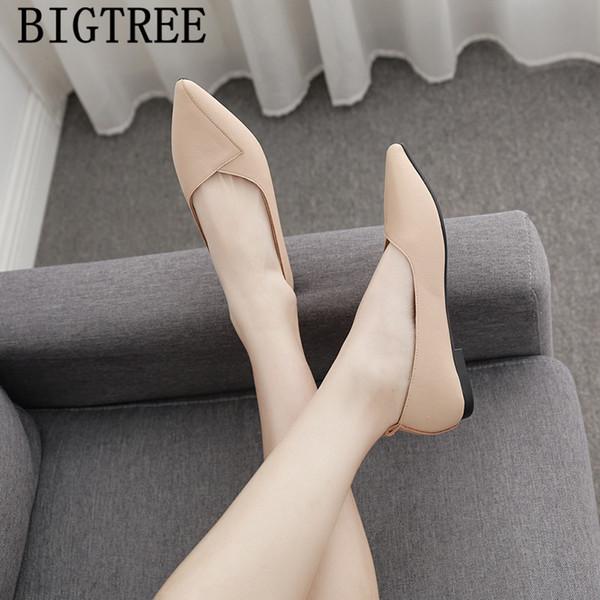 women leather shoes womens loafers shoes harajuku creepers slip on pointed toe flats baskets femme spor ayakkabi bayan