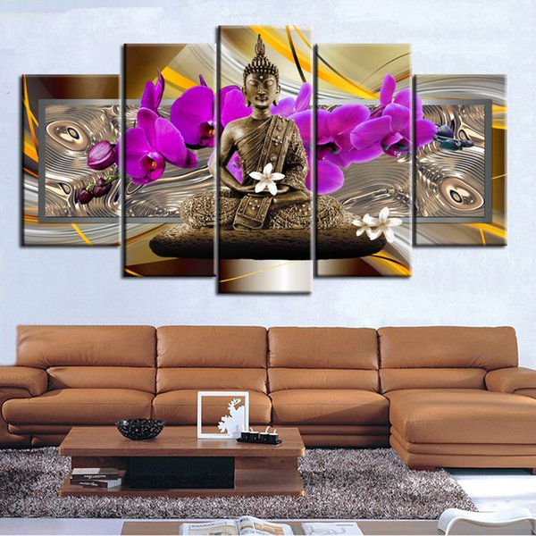 Абстрактное Искусство Будды Картина 5 Шт. Холст Картины Украшения Дома Цветы Печати Плакат Живопись Офис Декор Подарок (Без Рамки)