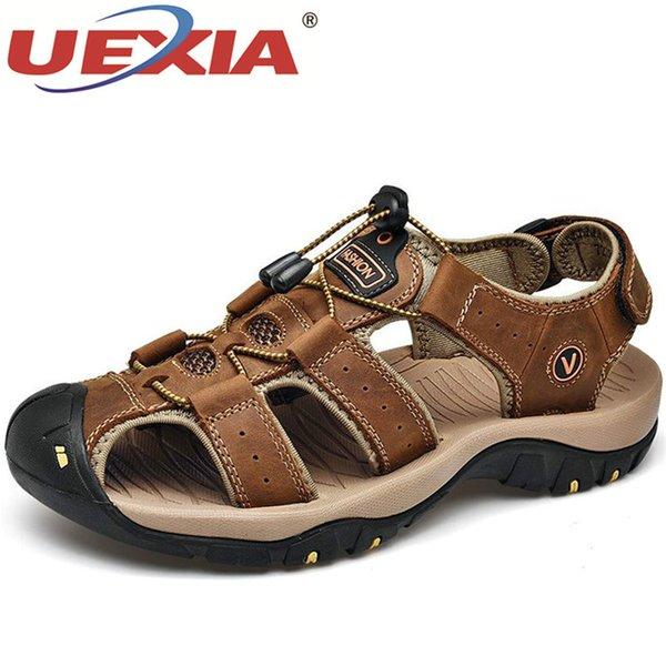 UEXIA Scarpe Uomo del cuoio genuino dei sandali degli uomini Estate Uomo Scarpe Beach Fashion informale all'aperto antiscivolo scarpe da tennis Taglia Calzature 48