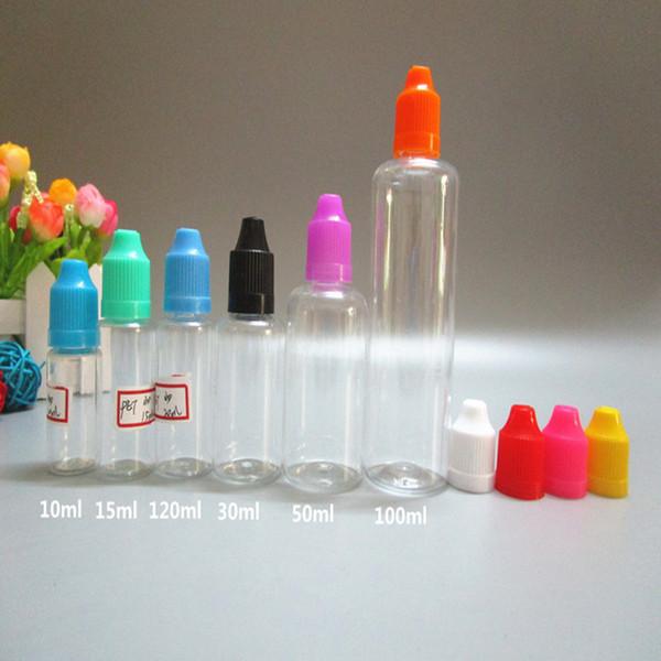Vape E-suyu E-sıvı E-çiğ Plastik Damlalık Şişe 10ml 15ml 20ml 30ml 50ml 100ml 120ml PE / PET İğne Yağ Şişesi
