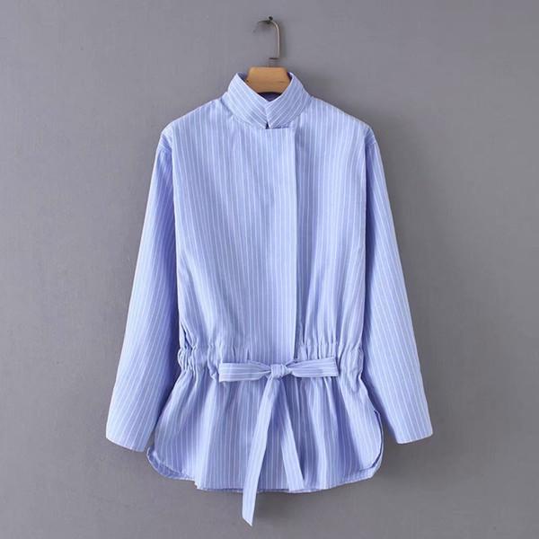 Vintage Stehkragen gestreifte Fliege Kordelzug Casual Smock Blusen Shirts Frauen Chic Kimono Blusas Femininas Tops Ls2773 J190618