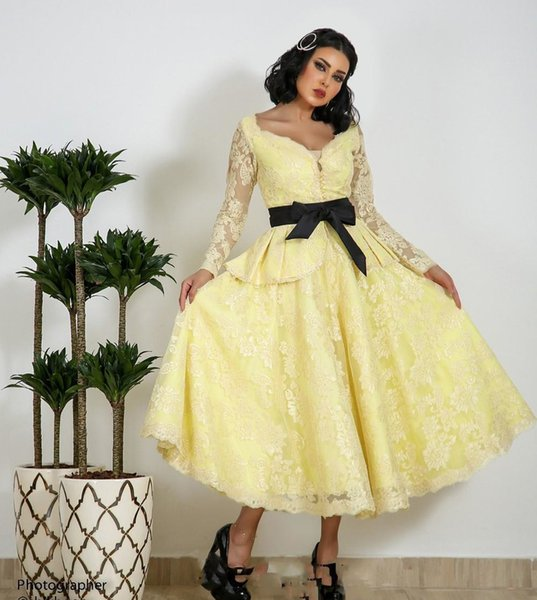 Yellow Long Sleeves Prom Dresses with Black Belt Lace Evening Gown Saudi Arabia Tea Length Formal Wear Custom Made Vestidos