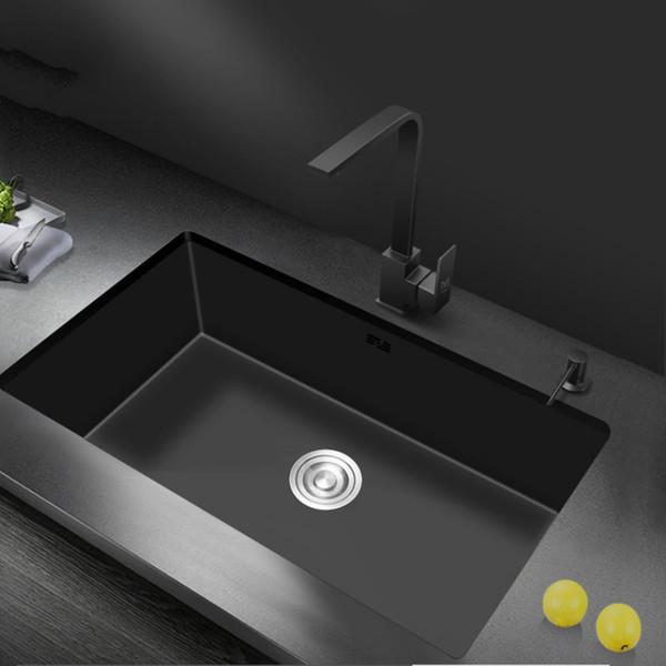 top popular Nano-water tank single-groove black kitchen sink basin 304 stainless steel vegetable-washing basin under mount for large kitchen 2021