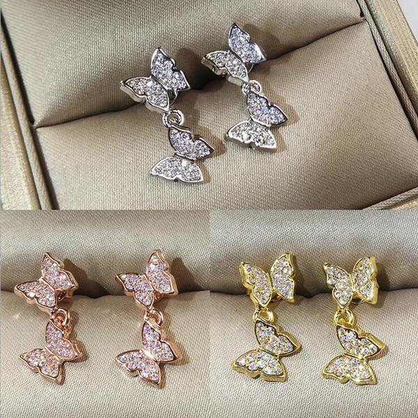 2019 nuovo arrivo gioielli di lusso 925 sterling silver rose gold fill pave 5a bianco chiaro cubic zirconia farfalla donne orecchini per gli amanti