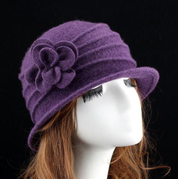 Elegant Women Round Bowler Cap Imitation Wool Flower Fedoras Cloche Bucket Hat with Flower Party Lady Hat